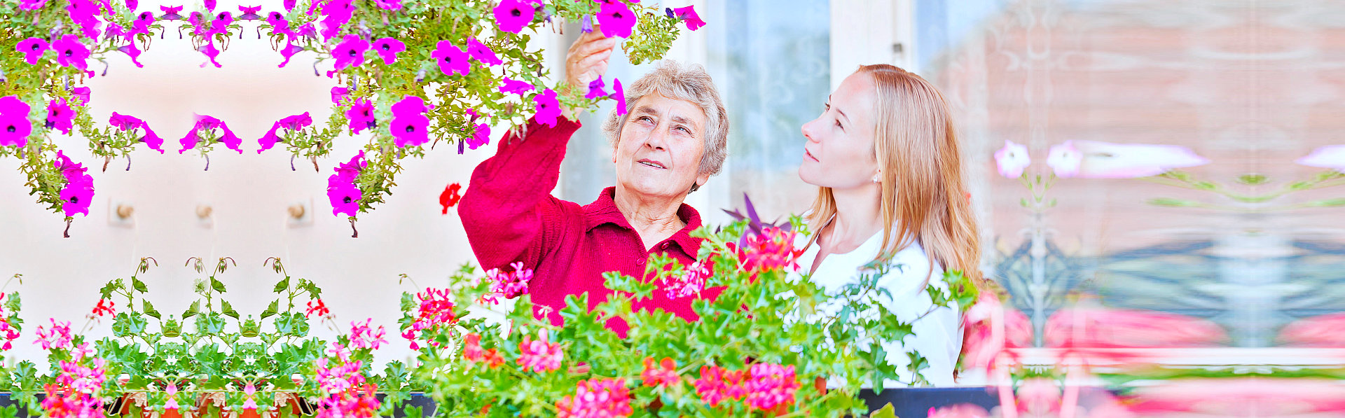 caregiver and old woman sight seeing in the garden